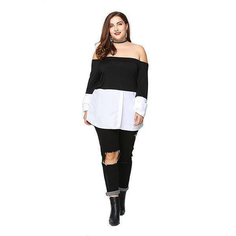 Image of Off Shoulder Knitted Blouse