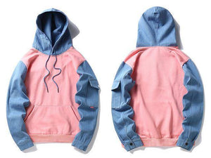 Denim Sleeve Patchwork Hoodies
