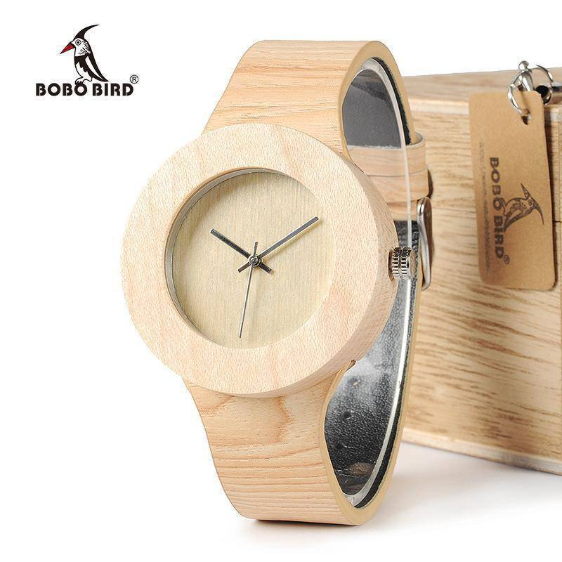 BOBO BIRD WH12 Pine Wooden Watches for Women Men Wood Dial