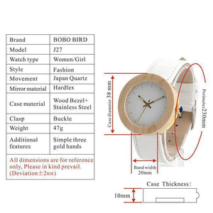 BOBO BIRD WJ28 Pine Wooden Steel Simple Dial Face Watch