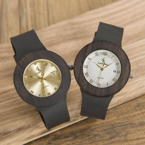 Image of BOBO BIRD WC02C03 Black Wooden Watch Genuine Leather