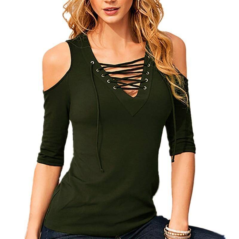 Sexy Women Casual Lace Up Hollow Out V Neck Blouse | Off Shoulder Half Sleeve Slim Top