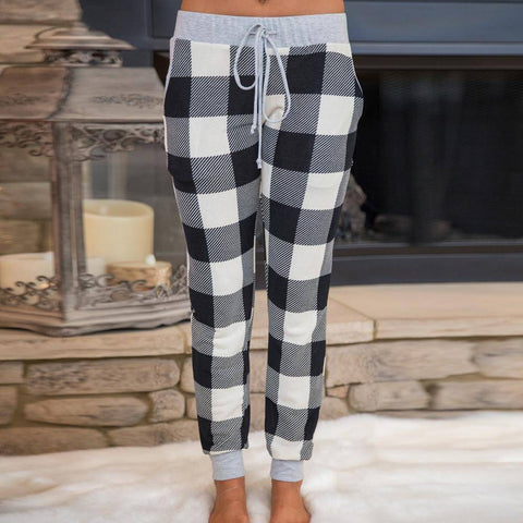 Pencil Casual Plaid Skinny Pants