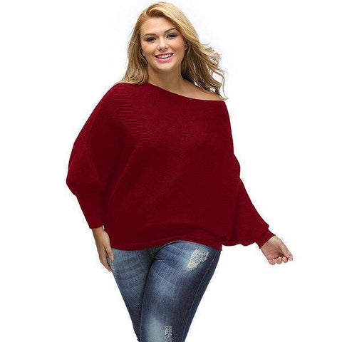 Image of Solid Plus Size Sweater | Full Sleeve Knitted Pullover Female Elegant Christmas Sweater