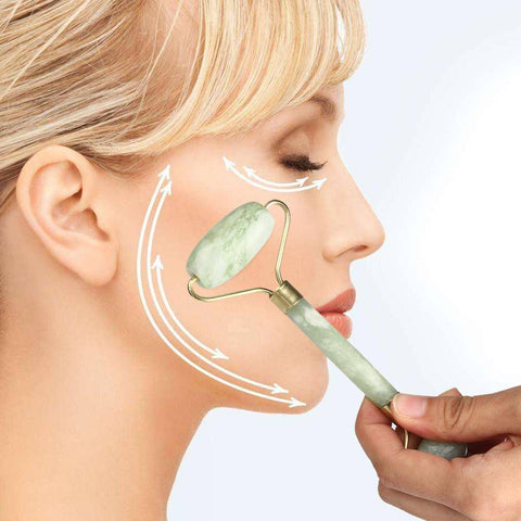 Image of Facial Massage Jade Roller Face Body Head Neck  Nature Beauty Device