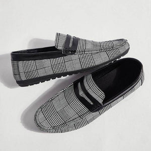 Light Gingham Canvas Men Loafers
