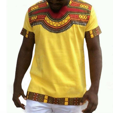 Image of Slim Male Dashiki Vintage T shirts African Print Tee