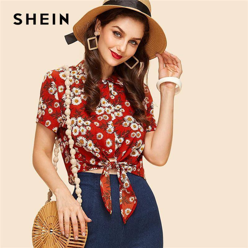 Multicolor Floral Vintage Retro Knot Front Crop Top