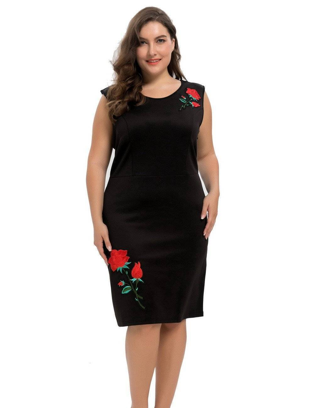 Women's Stretch Scuba Plus Size Sheath Dress with Rose Embroidery