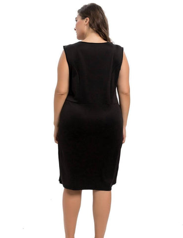 Image of Women's Stretch Scuba Plus Size Sheath Dress with Rose Embroidery