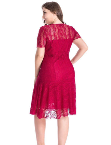 Image of Plus Size Floral Lace Swinging Dress