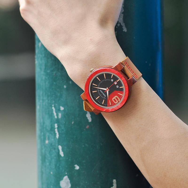 Crypto Fashion Leather Band Wooden Wristwatches