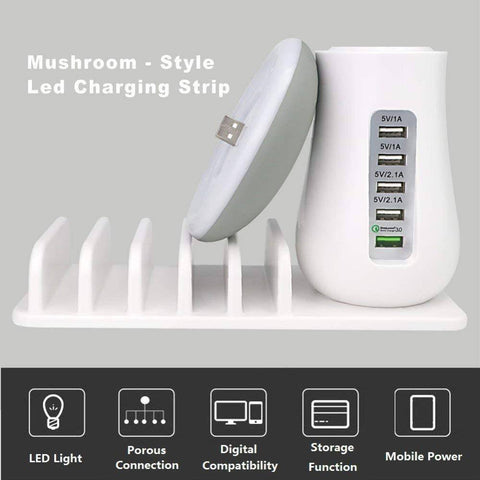 Multi Charging Mushroom - 5 Port Adapter Phone/Tablet Charger
