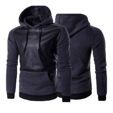 Image of Sweatshirts With Leather Patchwork Front Pockets