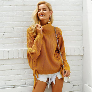 Side Lace Up Women Sweater
