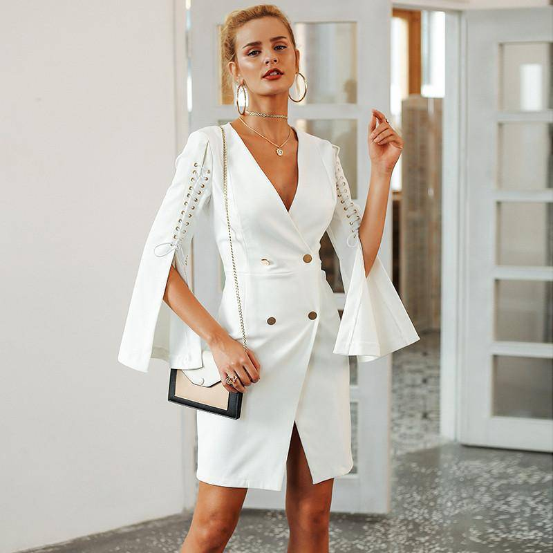 Elegant Lace Up Split Blazer | Double Breasted White Office Dress