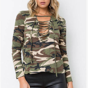 Ladies Casual Camouflage Top
