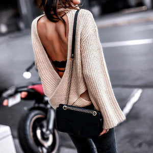Sexy Backless Cross Turtleneck Knitted Sweater