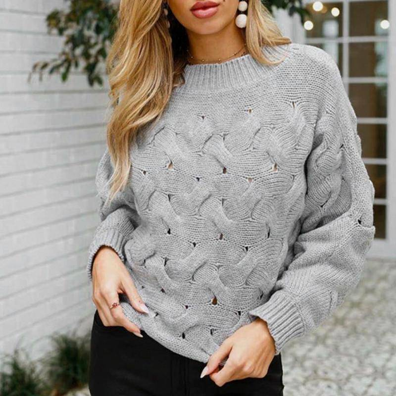 O-Neck Sweater Vintage Knitted Sweater | Gray Solid Casual Knitwear