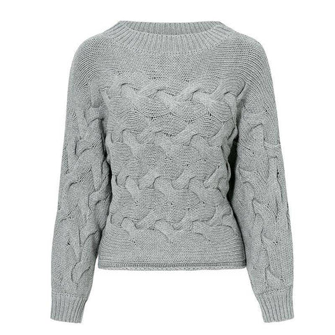 Image of O-Neck Sweater Vintage Knitted Sweater | Gray Solid Casual Knitwear
