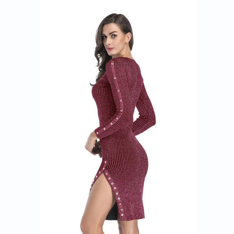 Fashion Side Slit Slim Long-Sleeved Knit Dress