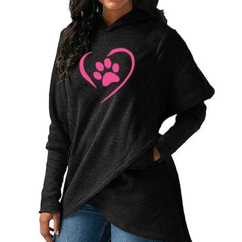 Paw Print Kawaii Hoodies For Women