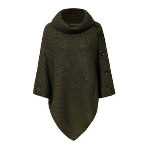 Elegant Knitted Turtleneck Cloak Sweater