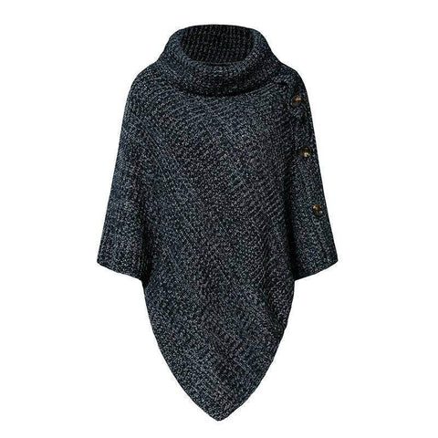 Image of Elegant Knitted Turtleneck Cloak Sweater