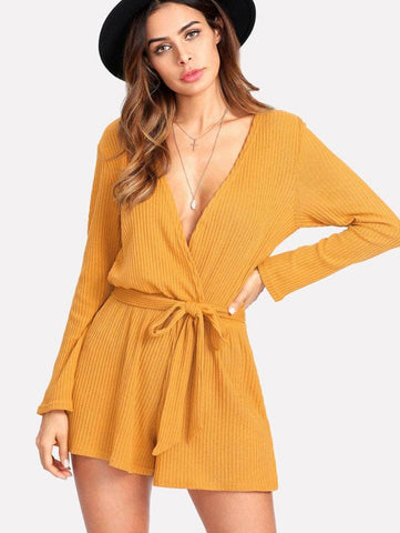 Image of Autumn V-neck Loose Casual Knit Jumpsuit