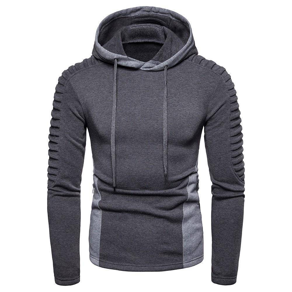 Fashion Fold Zipper Pocket Cotton Hoodie