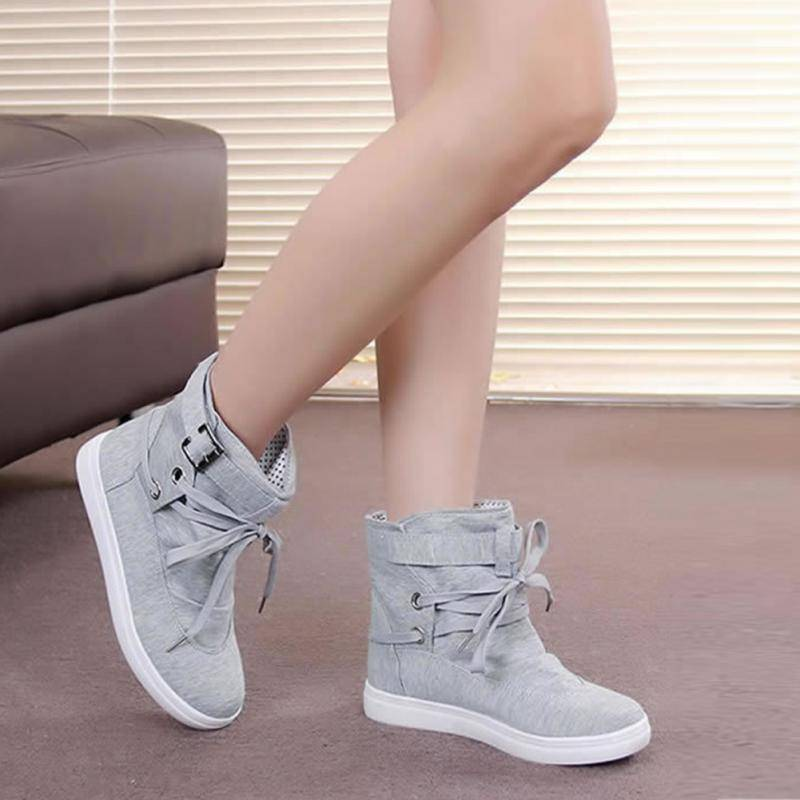 Fashion Buckle Strap High Ankle Sneakers