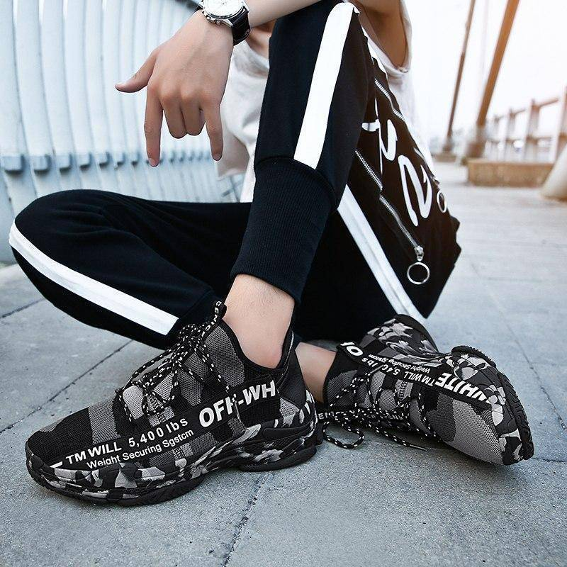 Camouflage Men Running Shoes | Wear-Resistant Slip-On Athletic Outdoor Men Sport  Sneakers
