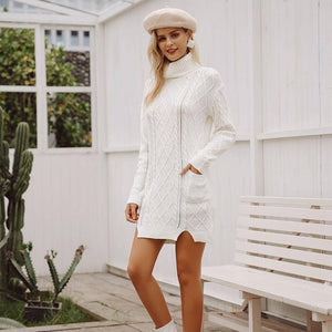 Turtleneck Knitting Split White Sweater | Sweater Dress
