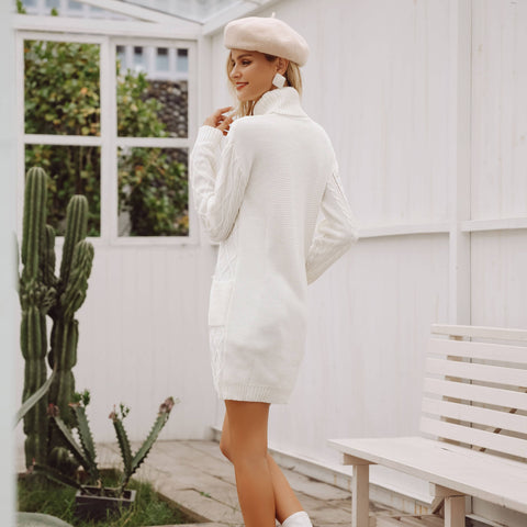 Image of Turtleneck Knitting Split White Sweater | Sweater Dress