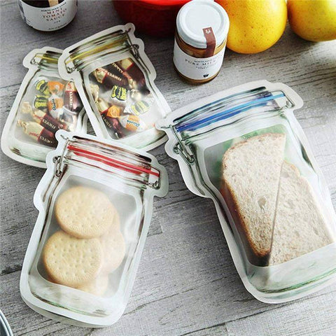 Reusable Food Bags -Reusable Jar Bags are a must have in any kitchen or household, preserve food or take it on the go with absolutely zero waste. Each bag is thick with an airtight zip seal, they can be put in the microwave, dishwasher, and freezer.