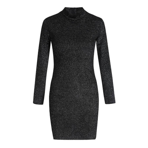 Image of Sexy Sequin Turtleneck Slim Fit Lady Long Sleeve Party Mini Dress