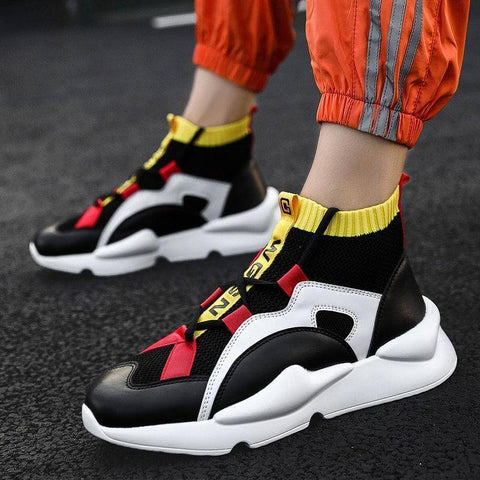 Image of BomKinta Mens High Top Brand Men Casual Shoes Fashion Breathable Stretch Sock Shoes