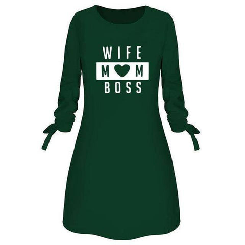 Wife Mom Boss Letters Print Dress