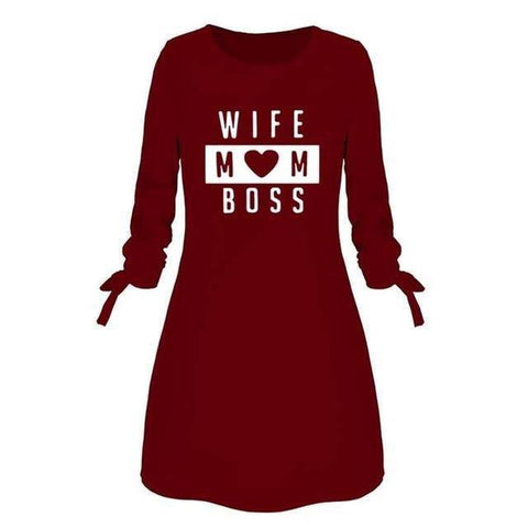Image of Wife Mom Boss Letters Print Dress