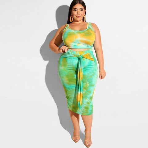Two Piece Tie-Dye Plus Size Outfit