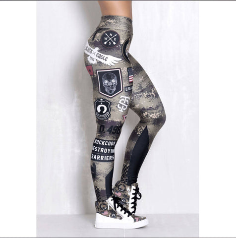 PureGem Armed Forces Tummy Control Push Up Print Leggings