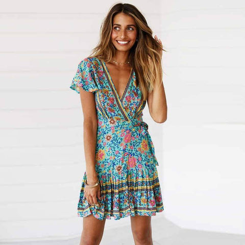 Image of 2019 New Release Mini Floral Boho Dress