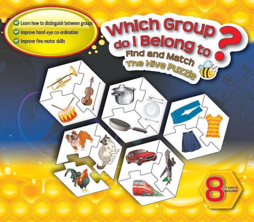 Hive  WHICH GROUP DO I BELONG TO  Set of 8 Puzzles