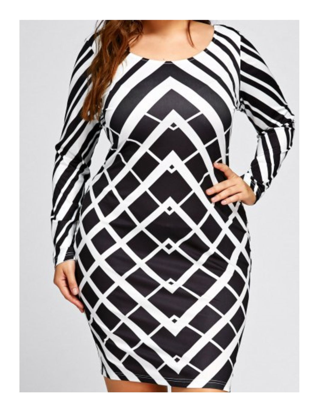 Plus Size Geometric Print Long Sleeve Dress - White And Black