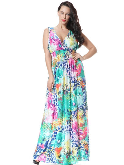Plus Size Backless Printed Women's Maxi Dress