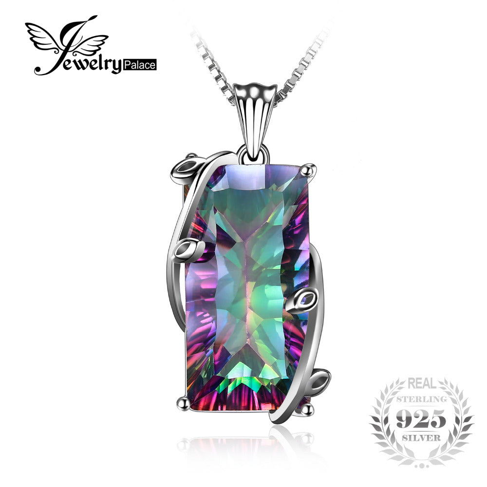 16ct Natural Fire Rainbow Mystic Topaz Necklace Charm Solid 925 Sterling Silver