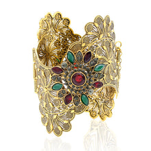 Indian Armlets Bangle Flower Wide Metal Bracelets Gold Color