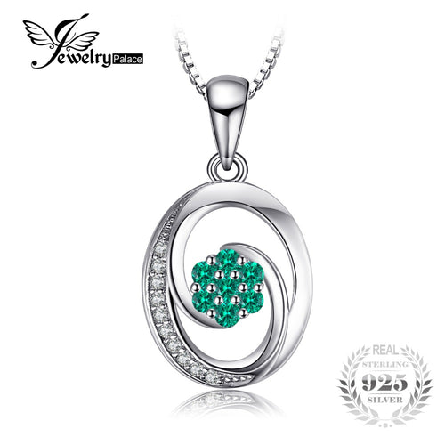 0.12ct Simulated Emerald Pendant S925 Sterling Silver -Not Include A Chain