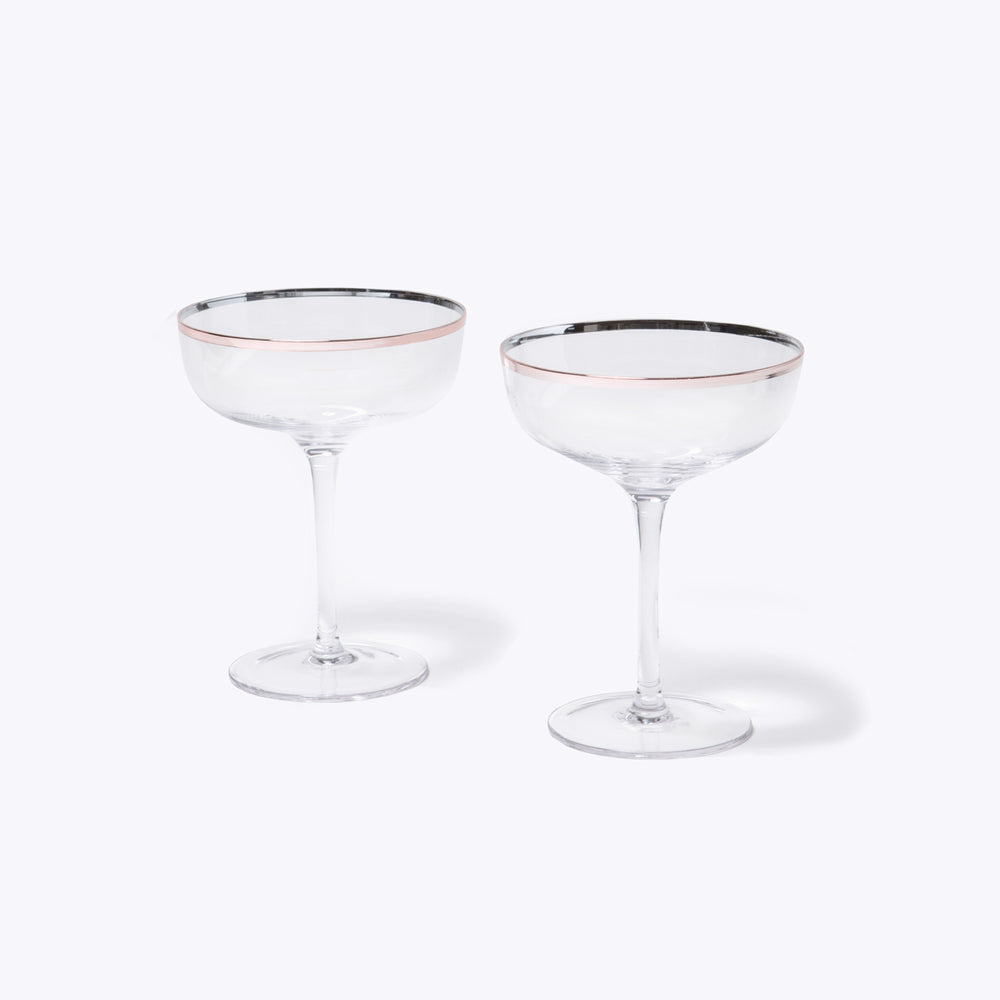 Copper Rim Crystal Coupe, 2 Pack