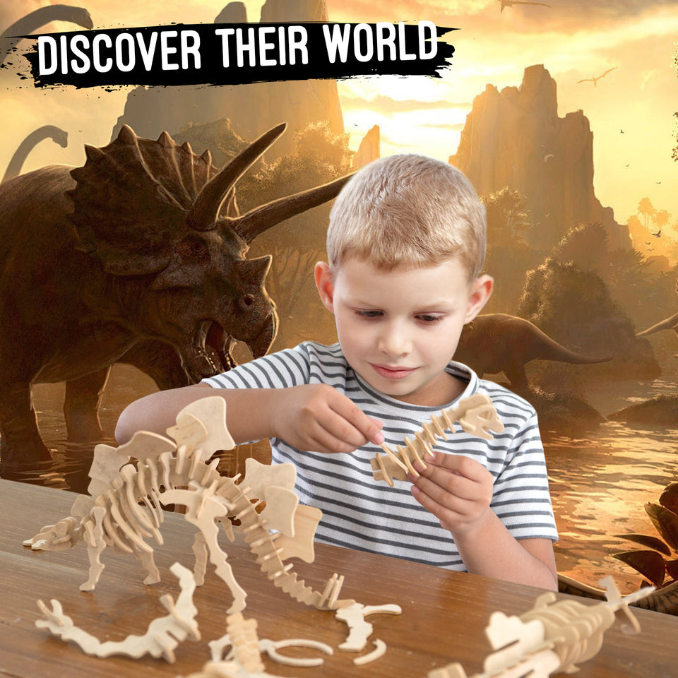 DIY 3D Wooden Puzzle Bundle Set | Dinosaurs